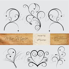 INSTANT DOWNLOAD - Digital Clip Art - Digital Flourish Swirl Digital Flourishes Swirls Hearts Clip Art Clipart Black and White. $4.50, via Etsy.