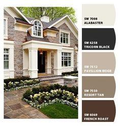 Exterior Paint Schemes Sherwin Williams Chips Ideas For 2019 Beige House Exterior, Exterior Paint Colors For House, Paint Colors For Home, Modern Exterior, Exterior Colors, Paint Colours, Outside House Colors, Exterior Paint Schemes, Stucco Colors