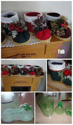 Christmas Tinker: DIY Plastic Bottle Santa Boots Holder Tutorial Video Source by DIYDailyMag Felt Christmas, Diy Christmas Gifts, Christmas Projects, Handmade Christmas, Christmas Decorations, Reuse Plastic Bottles, Plastic Bottle Crafts, Crafts To Make, Diy Crafts
