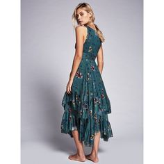 Catching Glances Midi Dress ($100) ❤ liked on Polyvore featuring dresses, v neck midi dress, mid calf dresses, tiered dress, floral dresses and floral midi dress