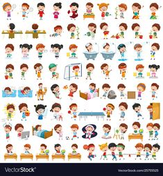 Cartoon children vector image on VectorStock Kids Routine Chart, Daily Routine Activities, Toddler Routine, Teaching Kids Respect, Emotions Preschool, Logos Retro, English Worksheets For Kids, Kids Schedule, Catholic Kids