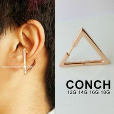 Gauge earring for conch piercing. Made from sterling silver and plated with rose gold. Choose among or pin. Great on conch, helix Helix Cartilage Earrings, Conch Earring, Rose Gold Earrings, Rose Gold Plates, 1 Piece, Gauges, Body Jewelry, Plating, Triangle