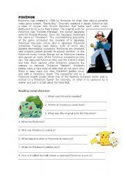 English worksheets: pokemon worksheets