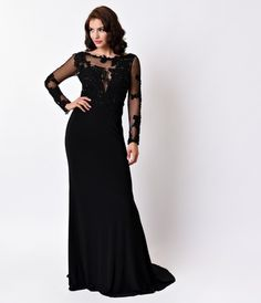 1930s Style Black Sexy Sheer Sleeve Long Dress 2016 Prom Dresses