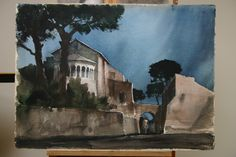 Romanesque Portico from the Apse of the Church of Santo Giovanni e Paolo - Full Sheet Watercolor