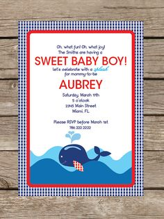 Whale Baby Shower Invitation or Invite  Pregnancy by TwoTinyLoves, $15.00