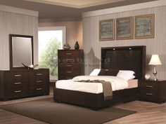 The Jessica bedroom collection features exquisite contemporary design features. Romantic ambient lighting below the platform bed, the bold Dark Cappuccino or Crisp White finish, and silver tone bar handles come together to create a sophisticated style. Spacious storage options feature drawers built with dove tail construction and full extension drawer suspension for ease of use and a long life. Add these sleek contemporary pieces to your bedroom for a unique look that you will truly love.