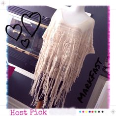 HP🎉NWT MarkFast Fringed Short Sleeve Top A (S-M) 🎉Host Pick🎉Boho, Indie and Rock: Festival Style🎉New with tags. Get your fringe on with this fabulous creation by London hippie knitter Mark Fast. Short sleeves, slouchy, can be worn off shoulder. Loose knit so it is designed to be worn over something (tank, cami, bandeau, bathing suit, etc). Pic 4 is a runway picture of a similar top by Mark Fast in black. MarkFast Tops