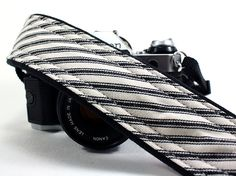 Striped dSLR Camera Strap with Pocket, SLR, Black, White. $29.00, via Etsy.