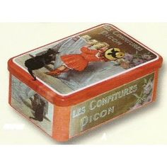 FRENCH VINTAGE SUGAR METAL BOX 20x13x7cm RETRO AD PICON MARMELADE