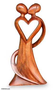 Wood statuette, 'My Heart and Yours' by NOVICA