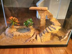Very cool decor, but sand is an extremely unsafe substrate for leopard geckos and leos should not be cohabitated.