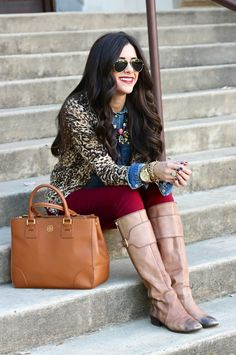 Classic outfit. Red jeans, tall riding boots, leopard cardigan, chambray