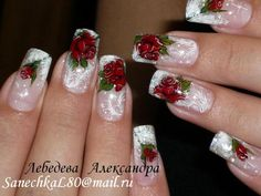 Pinned by www.SimpleNailArtTips.com ADVANCED NAIL ART DESIGN IDEAS - red roses on stamped feathery french manicure
