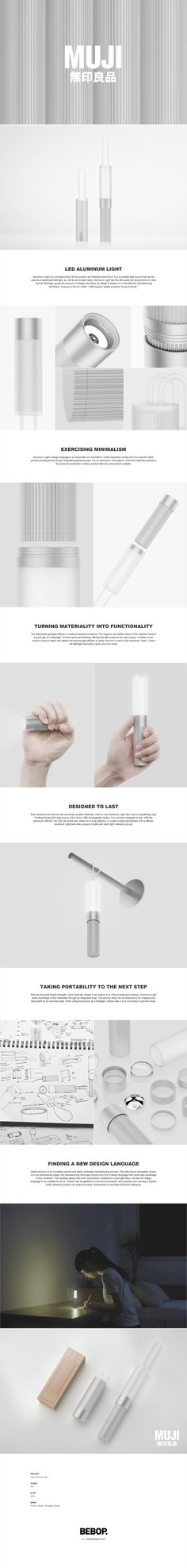 Aluminum Light is a concept product for the product and lifestyle brand MUJI. Web Design, Lamp Design, Lighting Design, Modern Design, Graphic Design, Portfolio Layout, Portfolio Design, Web Layout, Layout Design