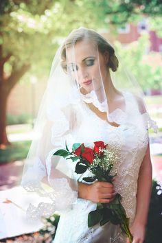 Mantilla Wedding VeilSweet Alencon Lace by RoseRedBridalDesigns, $95.00