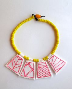 Geometric #necklace embroidered hot pink by AnAstridEndeavor #statementnecklace #embroidery
