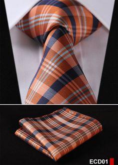 "Check 3.4"" 100%Silk Wedding Jacquard Woven Men Tie Necktie Pocket Square Handkerchief Set Suit ECD"