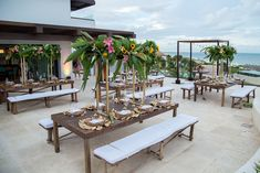 Benches are a fun seating alternative to the typical chair when hosting your wedding here in the Paramount Suite at Dreams Playa Mujeres Golf & Spa Resort!