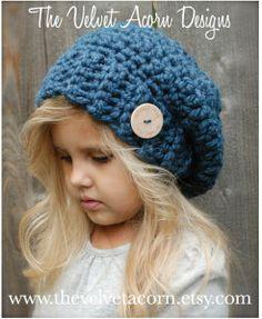 The Velvet Acorn - Heidi May -The Nevaeh Slouchy Bonnet Crochet, Crochet Beanie, Knitted Hats, Crochet For Kids, Crochet Baby, Knit Crochet, Crochet Toddler, Loom Knitting, Knitting Patterns