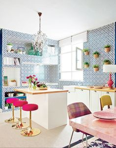 7 Inspiring Colorful Kitchens via @MyDomaine