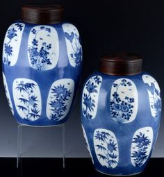 Marks on bottom, I believe is the Kangxi mark but not exactly sure. Here is a wonderful pair of antique / Chinese porcelain blue & white vases. Both have Chinese character. GREAT OLD CHINESE VASES! Blue And White Vase, Vases, Powder, Porcelain, Chinese, Jar, Antiques, Design, Face Powder
