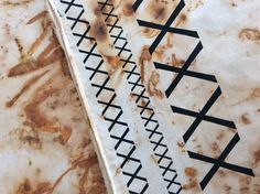 Cotton that has been rusted and then silkscreened www.dianeeastham.com