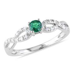 Zales Stackable Expressions Lab-Created Emerald Twist Eternity Style Ring in Sterling Silver IfJWNIc