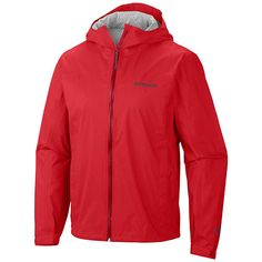 Cover: Columbia Men's EvaPOURation™ Jacket - Tall - Bright Red - 1562684 Featuring a rich woven fabric and clean, versatile styling that easily navigates from city to wilderness, this hooded men's rain jacket is the ultimate partner to active adventures in wet weather, with a performance blend of waterproof breathability and the next evolution in wicking technology to keep you dry and comfortable on both the exterior and interior. The EvaPOURation's underarm vents deliver adjustable…