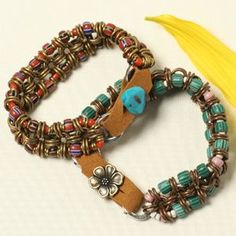 Boho Bracelet - love the button and suede closure.