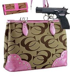 Pink and Khaki Studded Signature Conceal and Carry Purse W Matching Wallet - Handbags, Bling & More!