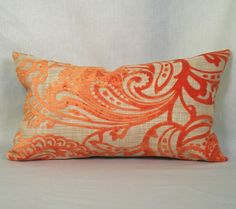 Pillow Cover  Velvet Paisley in Orange  12 x 20 by TheModernPlace