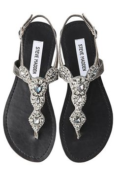 """Bijou (gem) thong sandals from """"STEVE MADDEN"""" LOVE THE SHOES!!! could go with anything"""