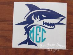 Shark Monogram Decal cool decal shark car by SouthernSugarDesigns