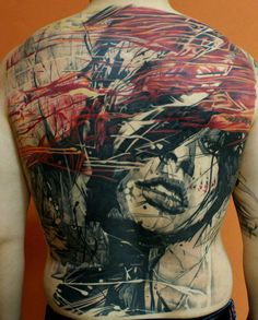 Abstract art girl face tattoos on back