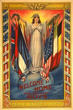 Welcome Home our Gallant Boys, War propaganda poster, pictures and photos Vintage Art Prints, Vintage Ads, Vintage Posters, Vintage Images, Vintage Nurse, Wilhelm Ii, Kaiser Wilhelm, Ww1 Posters, Ww2 Propaganda