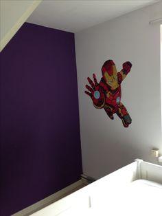 Iron man muurschildering gemaakt door joan of arts.