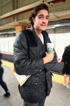 L Train, Union Square, 7:40 p.m.: Adam's accessories speak volumes: The Complete Idiot's Guide to: Starting Your Own Restaurant and a venti latte.