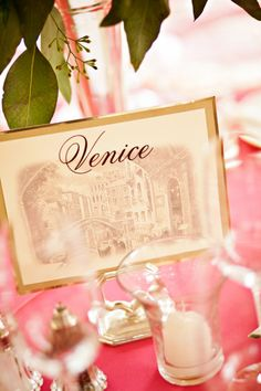 DIY table signs, named after Italian cities,..could easily be adapted to other countries :)