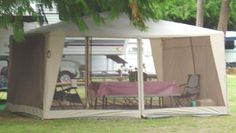 screen tent with picnic table Screen Tent, Screen House, Camping Guide, Tent Camping, Camping Ideas, Cool Tents, Family Camping, Picnic Table, Outdoor Furniture