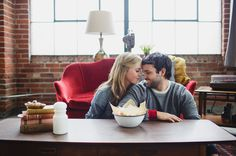 We love taking photos of couples in their home, where they feel most at home! :) #engagement