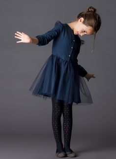 Tocoto Vintage Tulle Kid Dress in Navy