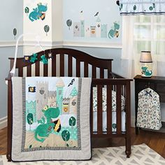 Dragon Nursery Theme ideas for your little knight in shining diapers. If you love dragons like we do, you'll love this crib bedding and nursery decor theme.