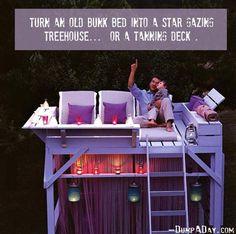 Bunk bed as tanning deck... Brilliant, just brilliant.