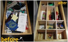 how to organize your junk drawer (via C.R.A.F.T.) Balsa wood cut to fit the drawer.
