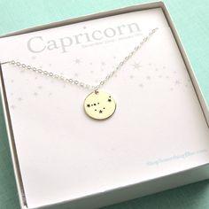 Capricorn Constellation Medallion, Zodiac Necklace, January Birthday, December Birthday, Capricorn Jewelry, Zodiac Necklace, Astronomy