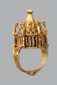 1350 1400 gold jewish wedding ring miniature building inscribed in hebrew masel - Jewish Wedding Rings
