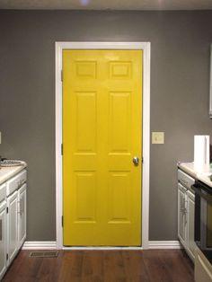 gray + yellow Closet room door