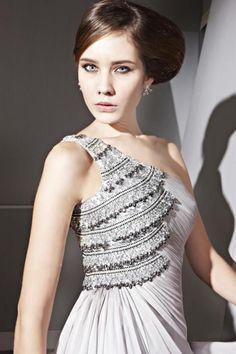 A-line One Shoulder Applique Beaded Tencel Evening Dress