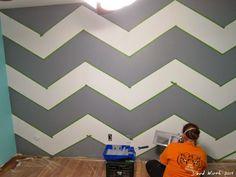 Geometric Triangle Wall Paint Design Idea With Tape